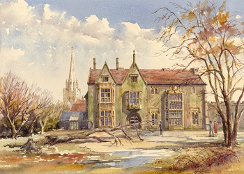 Watercolour by E. Addison showing the Grange, 1961