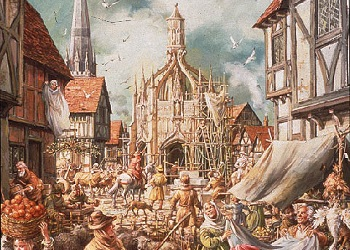 This painting by Mike Codd depicts life in Chichester when the Market Cross was built in 1501