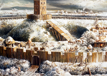 Reconstruction of the motte and bailey Castle. Painted by Mike Codd