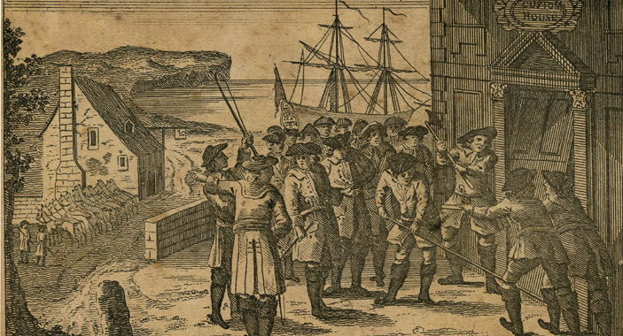 4. Representation of the Smugglers breaking into the Custom House at Poole