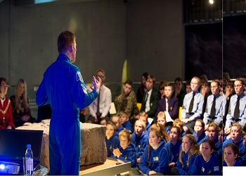 Tim Peake answers questions from local schoolchildren