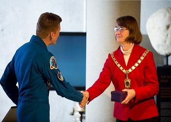 Tim Peake with Chairman of Chichester District Council, Elizabeth Hamilton