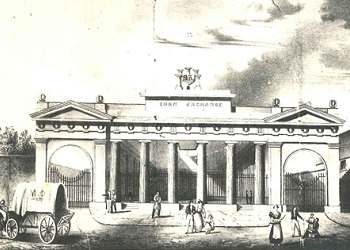 Print showing the Corn Exchange building, erected 1832