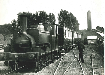 Opening of Selsey Tramway, August 1897. The engine 'Chichester' originally built in Barnsley in 1847