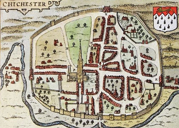 Map of Chichester from 1610, just before the Civil War, when Needlemaking was most prolific