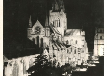 Chichester's Cathedral floodlit during VE Day celebrations  (Acc. 12.11.46)