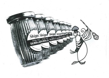 Line of paste jars inspected by cartoon character Displays a larger version of this image in a new browser window