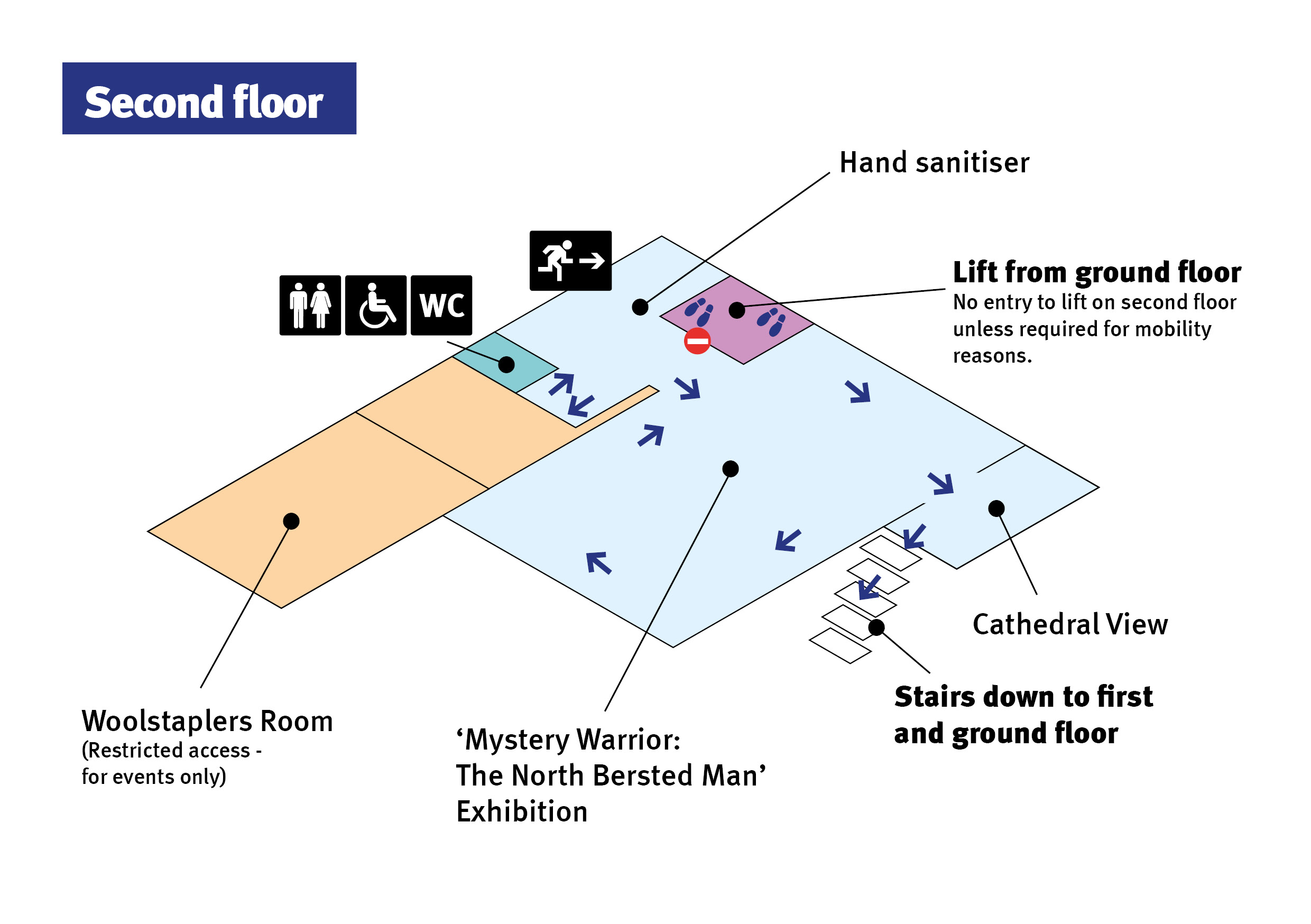 Map of second floor one-way circulation