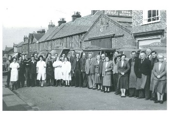 Thumbnail image of Workers Outside Pinks Factory (P3147)