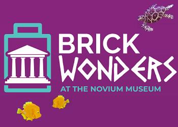 Brick Wonders LEGO Brick exhibition at The Novium Museum - logo set on a purple background with LEGO Brick turtle and angel fish swimming around it